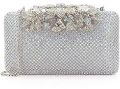 Dexmay Womens Evening Bag with Flower clasp Wedding Handbag Rhinestone Crystal Clutch Purse