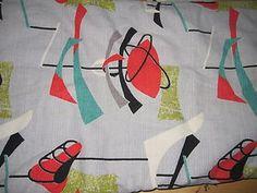 Vintage 1950's barkcloth fabric GREATEST EVER atomic grey aqua orange lime | eBay