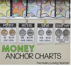 These anchor charts really serve as a great reminder for students who need extra reinforcement with coins! There are also student bookmarks, as well as anchor charts for bills included [Resource from: The Husky Loving Teacher].