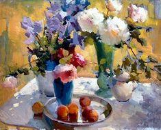 Still Life - Ovanes Berberian Paintings Famous, Paintings I Love, Floral Paintings, Still Life Oil Painting, Oil Painting For Sale, Fruit Painting, Garden Painting, Flower Vases, Flower Art