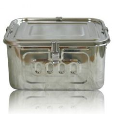 A roomy rectangular stainless steel storage container with an airtight seal - fabulous for bread, freezing, storing, preserving, canning, pet food, potlucking!