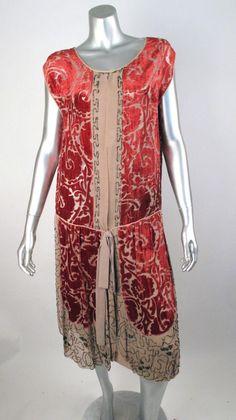1920's Nude Silk Burnt Out Red Velvet Beaded Drop Waist Flapper Dress. Front