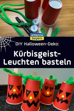 Was gehört ganz klassisch zu Halloween? Natürlich ein Kürbisgeist! Wir machen den dieses Jahr aus Pappbechern, die man super überall in der Wohnung als Halloween-Deko aufstellen kann. Die Bastelanleitung findet ihr bei uns! Happy Halloween, Diy For Kids, Super, Inspiration, German, Snacks, Diy Presents, Lineup, Bottle Crafts