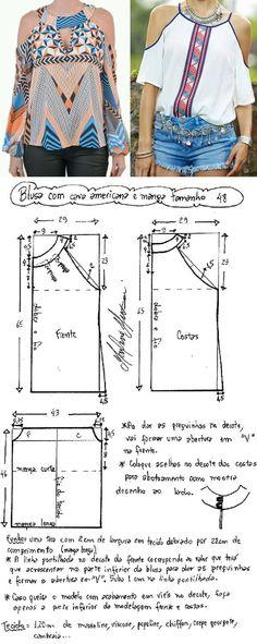DIY – molde, corte e costura – Marlene Mukai: Blusa cava americana com manga. Uma modelagem que dá para fazer dois modelinhos diferentes com esquema de modelagem do 36 ao 56.