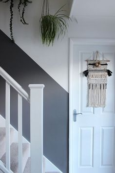 Will a half-painted stairway wall beat dirty hand marks and scuffs for good? Will a half-painted stairway wall beat dirty hand marks and scuffs for good? Hallway Wall Colors, Stairwell Wall, Stair Walls, Half Painted Walls, Painted Stairs, Decorating Stairway Walls, Stairway Paint Ideas, Entrance Hall Decor, Entrance Halls