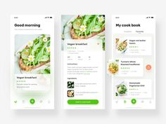 a vegetarian app design designed by J.Fong for VisualMaka. Connect with them on Dribbble; Ux Design, Blog Design, Ui Design Mobile, Cooking Dishes, Cooking App, Homemade Chili, App Design Inspiration, Apps, Roasted Cauliflower