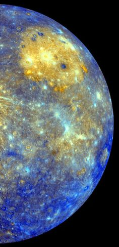 Mercury by nasa: This spectacular color mosaic shows the eastern limb of Mercury as seen by NASA's MESSENGER as the spacecraft departed the planet following the mission's first Mercury flyby in January 2008. #Astronomy #Mercury