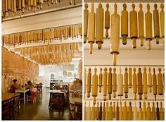 Rows Of Vintage Wooden Rolling Pins Decorate The Ceiling Pizza Farro In Thornbury Australia This Is Such A Cool Idea For Restaurant