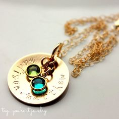 Custom Gold-filled Mothers Necklace, Childrens Gold Filled Name Mommy Necklace Birthstone Crystals, Mothers Day, Golden Mothers Necklace