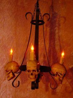 Skeleton Chandelier with Four Mr. Thrifty Skulls