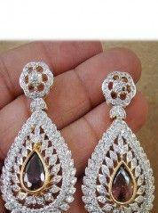Silver Mixed Alloy Metal with22k Gold Forming, Stones: Zircon, Semi precious stones