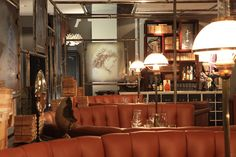 Griffins Steakhouse, Stockholm - by Stylt. Grand, design-led contemporary steakhouse & bar with plush lampshades & quirky decorative touches Steampunk Bedroom, Steampunk Interior, Steampunk Furniture, Steampunk House, Steampunk Design, Steampunk Theme, Cool Restaurant, Restaurant Design, Restaurant Interiors