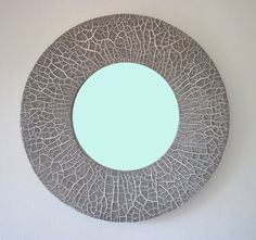 ROUND MIRROR CRAQUELE 'Tan by MAKRACREAZIONI on Etsy