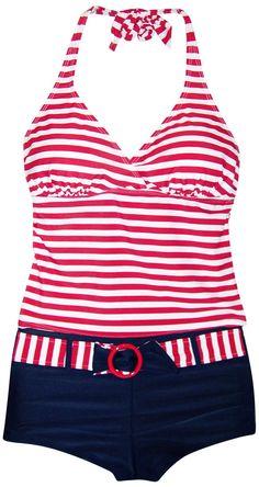 7fd2062781 Marina West Women's Swimsuit, Boyshorts and Tankini, Red White Stripe S-XXL