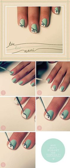 the bow manicure design Easy Nail designs for short nails