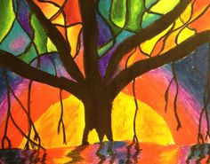Tutorial for Banyan Tree pastel art project for children - Gouache Painting Square 1 Art, 6th Grade Art, Ecole Art, School Art Projects, Autumn Art, Pastel Art, Art Lesson Plans, Art Classroom, Art Plastique