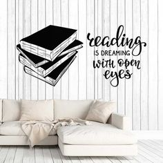 Vinyl Wall Decal Books Quote Reading Room Library Book Shop Stickers Unique Gift 34 in X 70 in / Dark Blue Wall Stickers Quotes, Vinyl Quotes, Wall Quotes, Vinyl Wall Decals, Book Quotes, Library Quotes, Library Books, Library Ideas, Library Wall