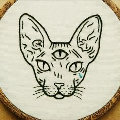 Three Eyed Sphynx Cat Hand Embroidery Hoop Art от ALIFERA на Etsy