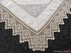 Antique Linen Tablecloth Teapots Hand Crochet Lace Edge