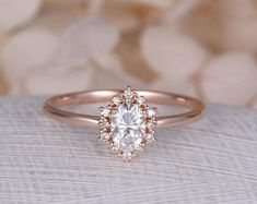 Vintage engagement ring Oval Moissanite engagement ring rose gold diamond halo wedding Jewelry Anniversary Valentine's Day Gift for women