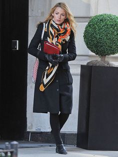 A pop of color like Blake Lively's bold, graphic scarf will protect you from…