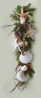 Perfect for a coastal Christmas. Attach various seashells and pine-cones to faux greenery some twine or nautical rope woven throughout.