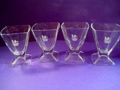 Clear Glasses Etched Royal Hallmarks Crown Lion Tower Square Pedestal Set of 4