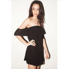 Boho off shoulder black chiffon dress New! Chiffon Dresses Mini