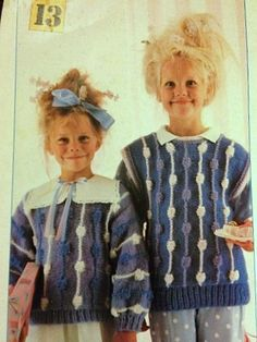 Vintage Woolworth's 80s knitting pattern for girls bobble jumpers