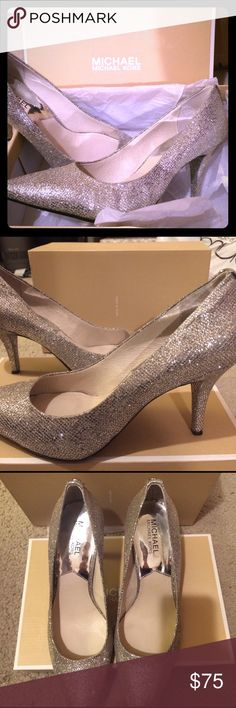 Michael Kors Glitter SILVER pumps!! Beautiful silver glitter Michael Kors pumps!! They are gorgeous in person, the pictures do no justice! I wore them literally for 2 hours and they are like new. You wouldn't have even known I wore them ☺️..And they made my outfit! I got so many compliments!! MICHAEL Michael Kors Shoes Heels