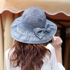 ecbd93207a5 Women Denim Bucket Hats with Bow Washed Summer Caps for Female Sun Block  Sun Hat Cotton Outdoor Cap Casual Hat