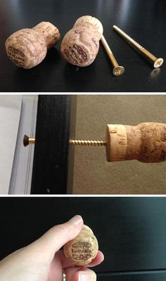 a free afternoon and a collection of old wine corks? Here are 5 charming diy cork projects that are fun, easy and quick.Got a free afternoon and a collection of old wine corks? Here are 5 charming diy cork projects that are fun, easy and quick. Wine Craft, Wine Cork Crafts, Wine Bottle Crafts, Crafts With Corks, Wine Cork Projects, Craft Projects, Wood Projects, Craft Ideas, Champagne Corks