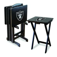 The Oakland Raiders TV Trays With included Stand are great for Raiders Fan Caves as well as tailgating and at the beach when you need some extra table space.