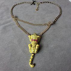 BJ yellow francs glaze Small leopard set auger double-deck necklace