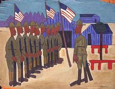Soldiers Training, ca. 1942, William H. Johnson, oil on plywood, 37 3/4 x 49 1/4 in. (95.9 x 125.1 cm.), Smithsonian American Art Museum, Gift of the Harmon Foundation, 1967.59.582