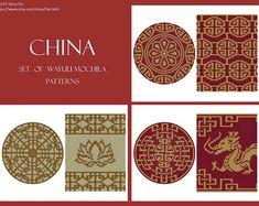 PATTERN: CHINA - Set of wayuu mochila patterns - wayuu bag pattern - mochila bag pattern - tapestry crochet pattern - CHARTED pattern Tapestry Crochet Patterns, Crochet Stitches Patterns, Crochet Designs, Stitch Patterns, Art Deco, Shops, China Sets, Etsy App, Handmade Bags