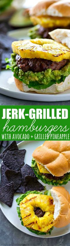 Sweet 'n' spicy jerk-flavored hamburgers are a match made in burger heaven with smashed avocado and tangy sweet grilled pineapple. This is one burger you don't want to miss out on. Burger Recipes, Grilling Recipes, Beef Recipes, Grilling Ideas, Sweet N Spicy, Grilled Hamburgers, Smashed Avocado, Main Dishes, Pineapple