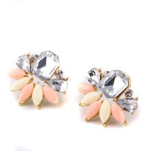 3 Colors Crystal Flower Earrings boucle d'oreille femme marque Crystal Pendientes Jewelry Brincos joyas Stud Earrings For Women(China (Mainland))