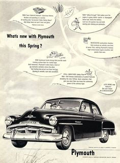 1952 Plymouth Save Fuel, New Tone, Car Brochure, Us Cars, Old Ads, Print Ads, Vintage Ads, Plymouth, Mopar