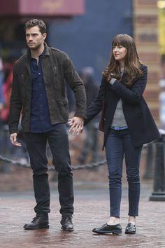 Jamie Dornan and Dakota Johnson shooting Fifty Shades Darker in Vancouver