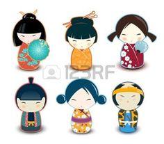 kimono japonais: Poupées Kokeshi Illustration