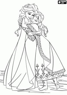 The embrace of Elsa and Anna, the reunion of the two sisters coloring page
