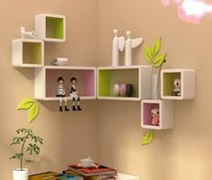 The newest catalog of corner wall shelves designs for modern home interior wall decoration latest trends in wooden wall shelf design as home interior decor trends in Indian houses Corner Wall Shelves, Wooden Wall Shelves, Wall Shelves Design, Book Shelves, Kids Room Design, Home Design Decor, Diy Home Decor, Design Ideas, Articles En Bois