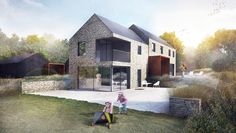 Contemporary and Modern Extension Refurbishment Reading Hampshire Rural House, House 2, Cornwall House, Steel Barns, Modern Bungalow, Modern Barn, House Layouts, Architect Design, Exterior Design
