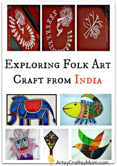Exploring Folk Art Craft from India ArtsyCraftsyMom is part of children Pictures India - Exploring Folk Art Craft from India Simple step by step tutorials for Warli, madhubani & Gond folk art for kids Exploring Folk Art Craft from India India For Kids, Art For Kids, Around The World Crafts For Kids, Projects For Kids, Art Projects, India Crafts, Cultural Crafts, Madhubani Art, Indian Folk Art