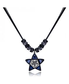 Black Gun Color Plated Charm Necklace With Navy Blue&White Star Pendant