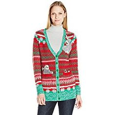 Sloth Ugly Christmas Sweater, Blizzard Bay Women's Cardigan, Red/Green