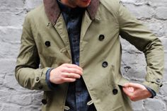 chambray and olive coat