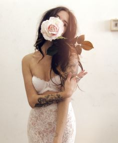 Girl tattoo ink arms rose pretty