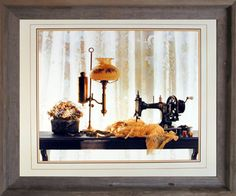Impact Posters Gallery Framed Wall Decor Country Sewing & Old Lamp Still Life Fine Mahogany Pictures Art Print